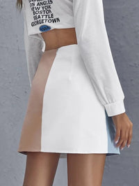 Women Zip Back Two Tone Skirt