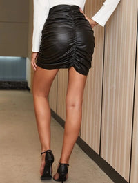 Women Zip Side Ruched PU Leather Skirt