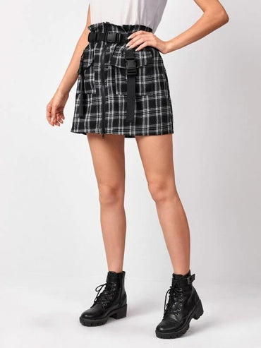 Women Zip Up Buckle Belted Pocket Patched Plaid Skirt