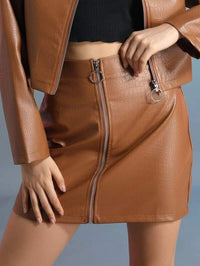 Women Zip Up Crocodile PU Leather Skirt