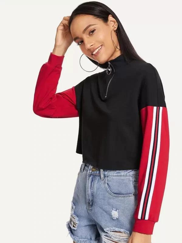 Zip Front Color Block Striped Pullover