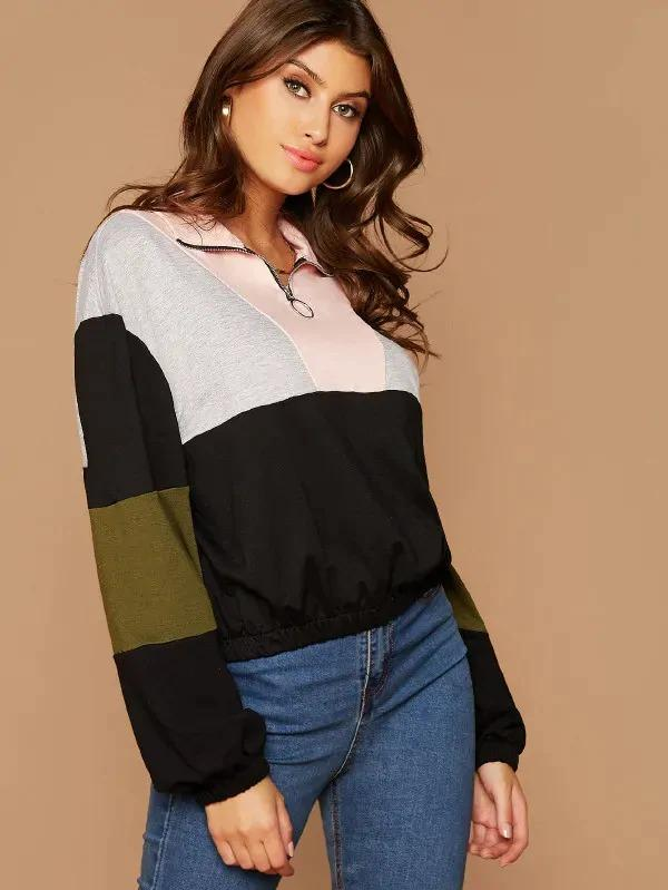 Zip Half Placket Colorblock Sweatshirt