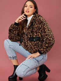 Women Zip Up Flap Pocket Front Hooded Leopard Faux Fur Coat