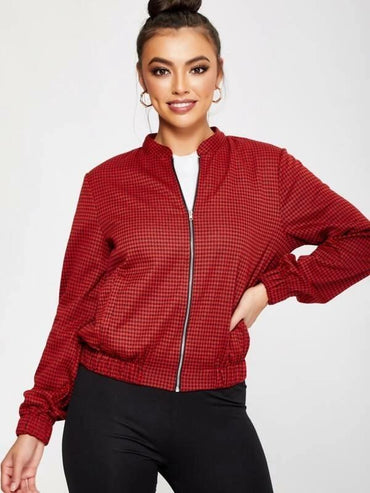 Zip Up Houndstooth Jacket