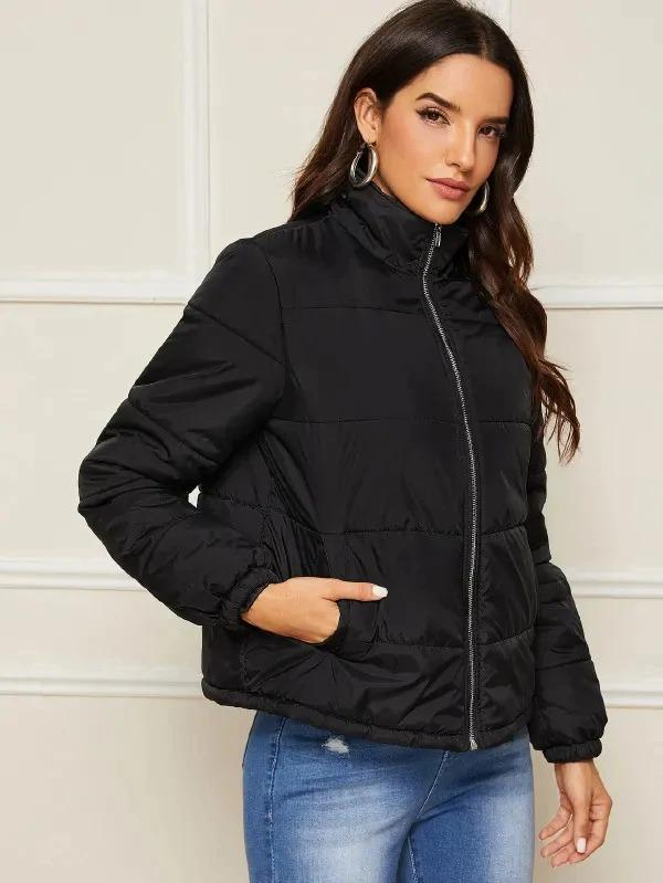Zip Up Slant Pocket Padded Jacket