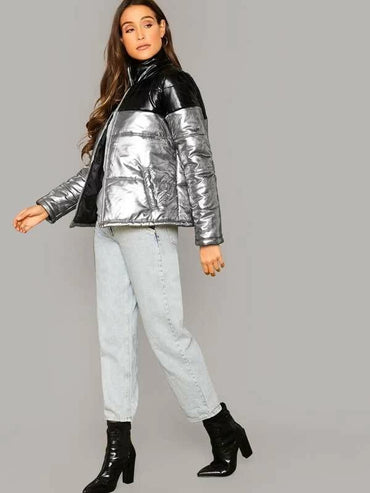 Zip Up Twp Tone Metallic PU Leather Padded Jacket