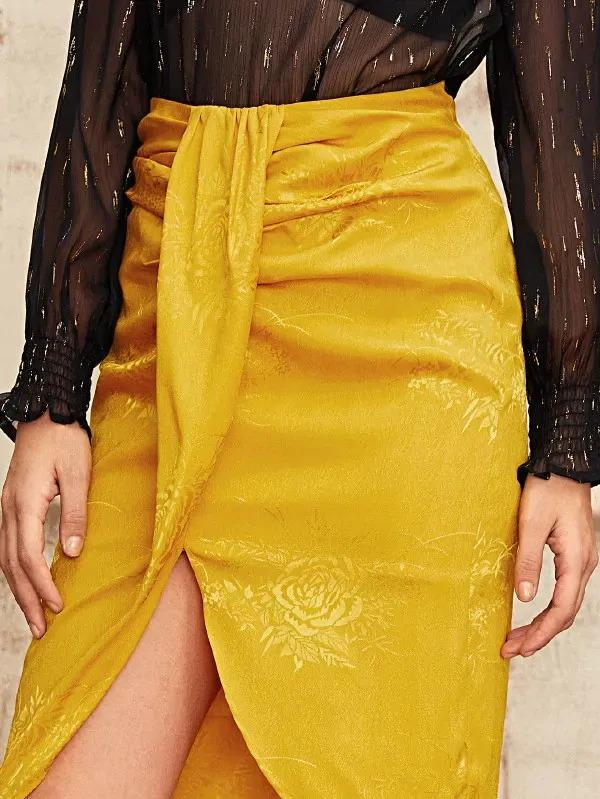Zipper Fly Jacquard Draped Skirt