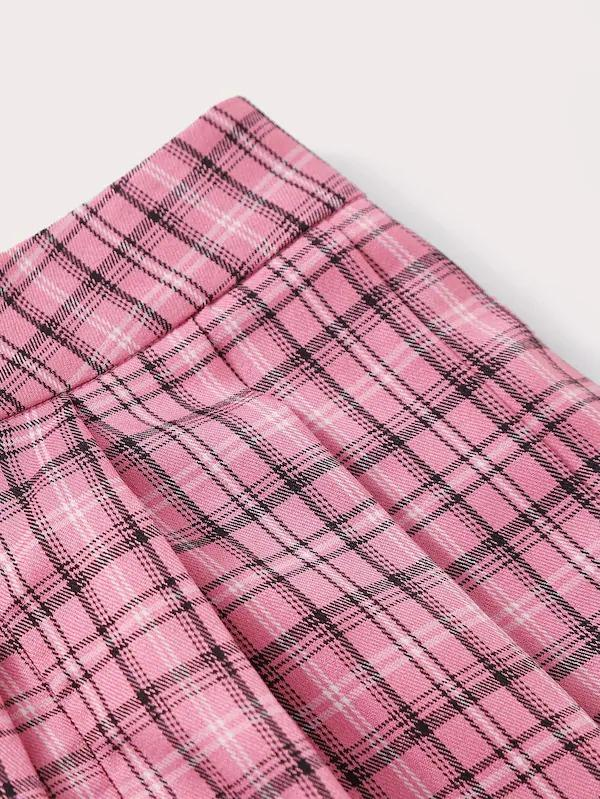 Zipper Fly Plaid Skater Skirt