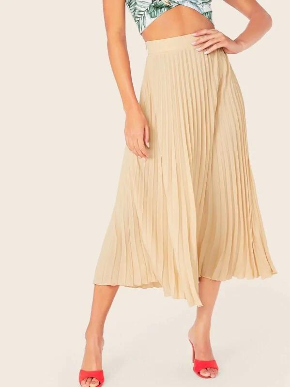 Zipper Side Fit & Flare Pleated Skirt