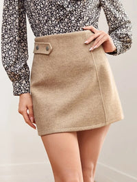 Women Zipper Side Button Detail Solid Skirt