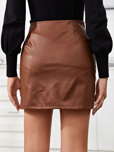 Women Zipper Side Ruched Detail PU Skirt