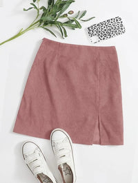 Women Zipper Side Split Hem Corduroy Skirt
