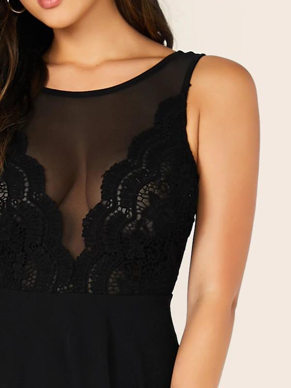 Zipper Fly Lace & Mesh Bodice Flare Backless Dress