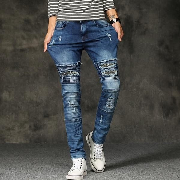 Cool Fashion Men Ripped Skinny Jeans Hip Hop Style Retro Knee Rap Hole Zipped