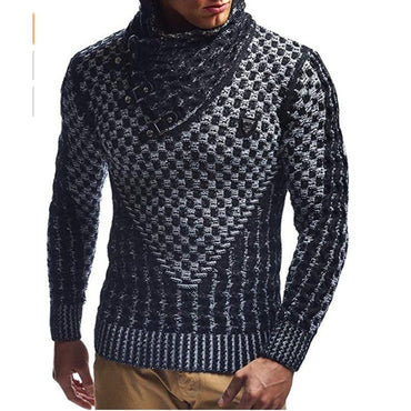 Men Sweaters Thick Warm Hedging Turtleneck Luxury Style Fashion