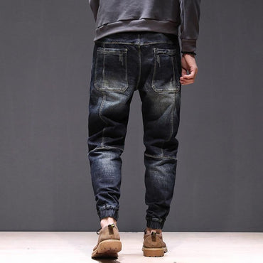 Super Cool Men Hip Hop Loose Elastic Waist Drawstring Jeans