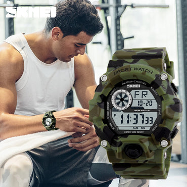 S SHOCK Men Sports Watches Camouflage Military Digital LED Display
