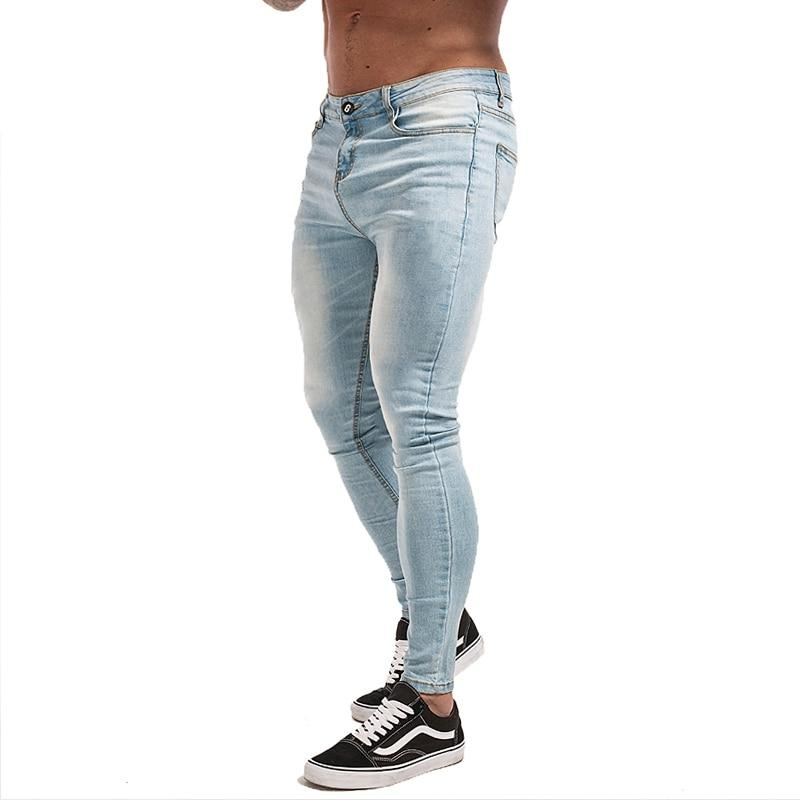 Skinny Jeans for Men Stretch Slim Fit Tight Brand Athletic Strong Leg Super Spray on