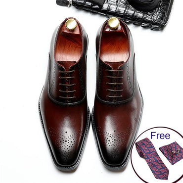 Men Premium Genuine Cow Leather Vintage Oxford Shoes