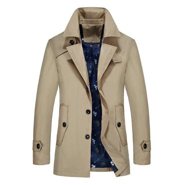 Men Trench Coat Fashion Brand Slim Fit Solid Color Lapel Long Overcoat