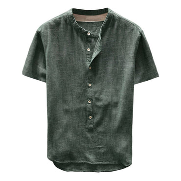 Tunic Men Linen Solid Short Sleeve Shirt