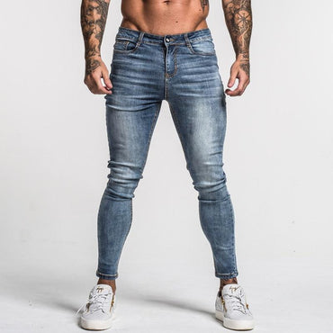 Men Skinny Jeans Faded Middle Waist Classic Hip Hop Stretch Jeans