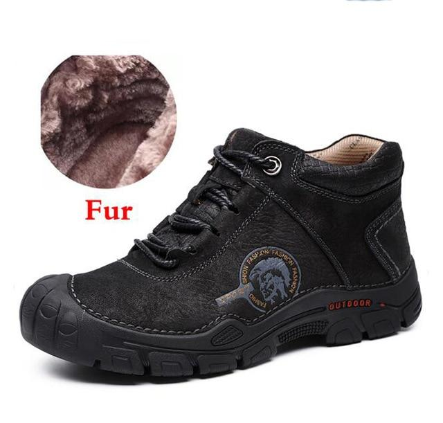 Men Boots Natural Leather Handmade Super Warm Fur Winter Ankle Boots