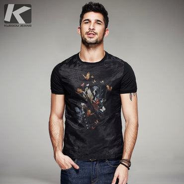 Men Cotton Patchwork Cotton Short Sleeve T-Shirt