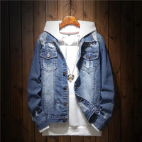 Men Denim Jacket Fashion Design Casual Loose Ripped Holes Vintage Bomber Jean Jacket