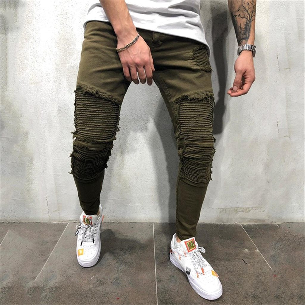 Men Slim Holes Pleated Pocket Slim Fit Drawstring Harem Long Pants