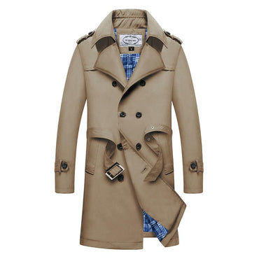 Men Trench Coat Windbreakers Solid Color Fashion Design Long Coat