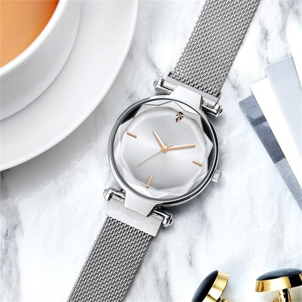 Luxury Fashion Magnetic Women Watches Rose Gold Stainless Steel Mesh Strap