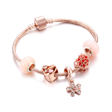 Luxury Crystal Women Heart Flower Tassel Charm Bracelet
