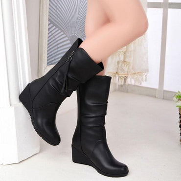 Women Boots Wedge Mid Calf Fashion Design Leather Boots