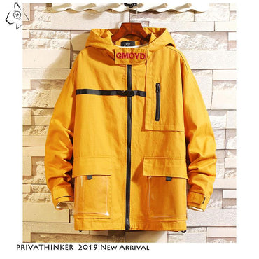 Men Jacket Casual Cool Fashion Streetwear Solid Color Hooded Jacket