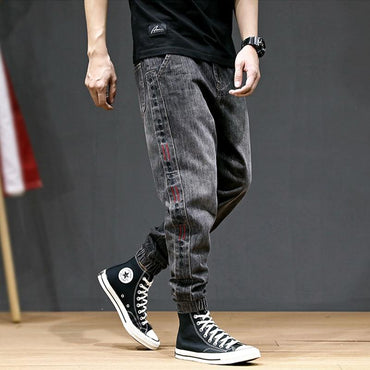 Hot Style Fashion Men Loose Fit  Slack Bottom Jogger Jeans