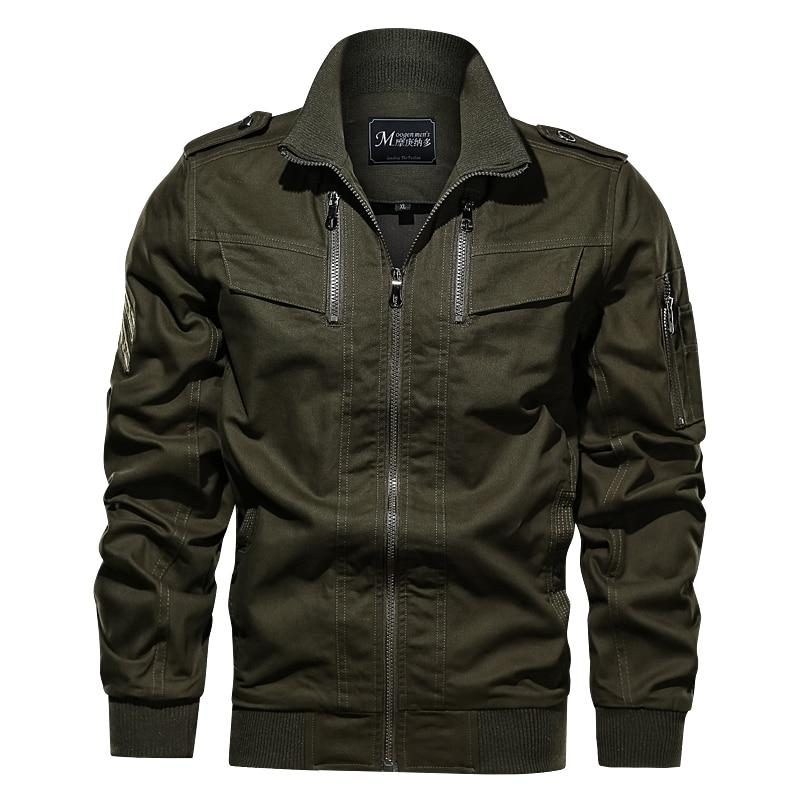 Men Jacket Style Army Top Brand Multi Pocket Cotton Bomber Jacket