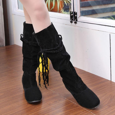 Women Winter Boots Heighten Platforms Thigh High Tassel Fashion Brand Design