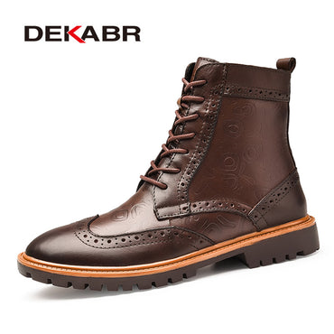 Men Luxury Genuine Leather Bullock Waterproof Motorcycle Boots