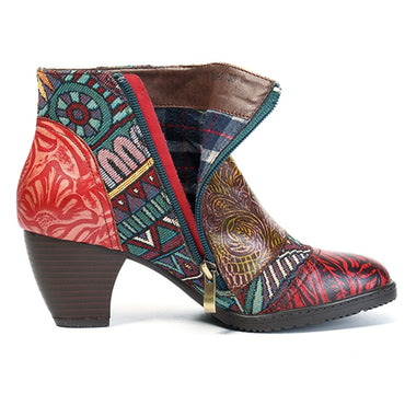 Women Vintage Bohemian Printed Genuine Leather Ankle Boots