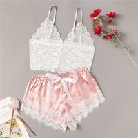 Floral Lace Cami Top With Satin Shorts Sexy Lingerie Set