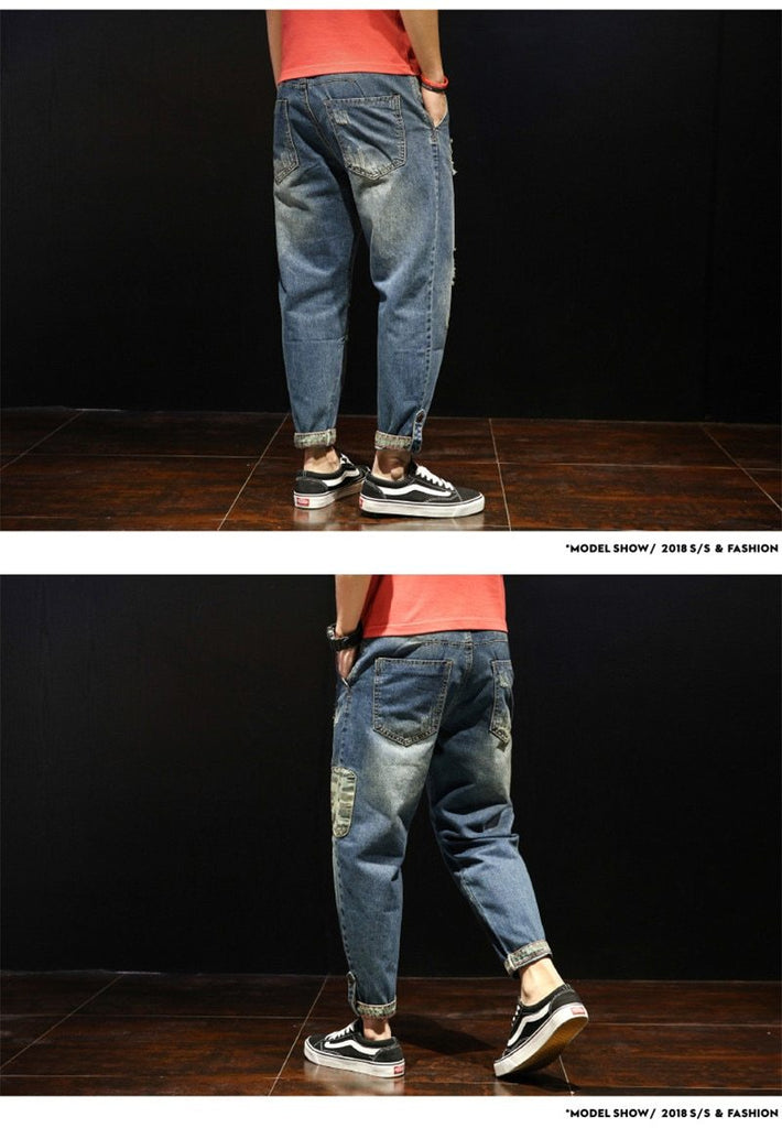 Fashion Patchwork Ripped Men Loose Holes Ankle-Length Harem Pants Jeans