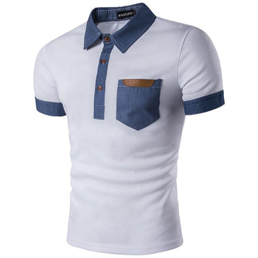 Men Hot Fashion Denim Collar Single Breasted Polo Shirt