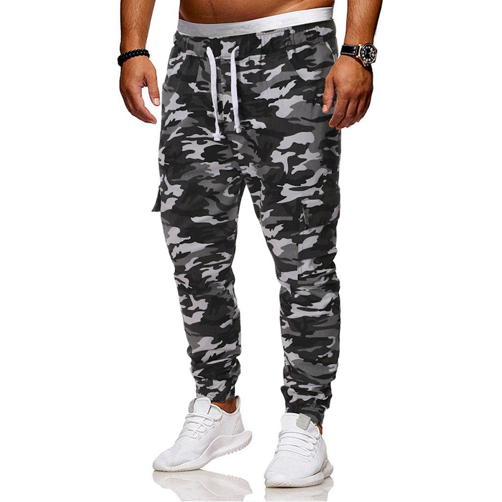 Men Slacks Camouflage Hip Hop Elastic Joggings Sport Pants