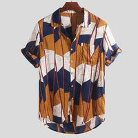New Arrival Men Fashion  Casual Multi Color Lump Chest Short Sleeve Shirt