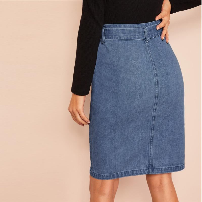 Slit Front Belted Denim Skirt With Zipper