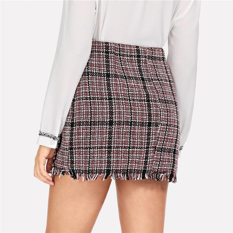 Multicolor Elegant Frayed Edge Trim Plaid Tweed Mid Waist Women Skirt