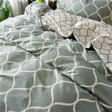 Geometric Linen Duvet Cover Bedding Sets With Pillowcase