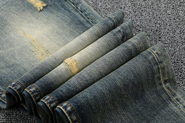 Italy Style Fashion Men Jeans Slim Fit Ripped Streetwear Hip Hop Classical Jeans