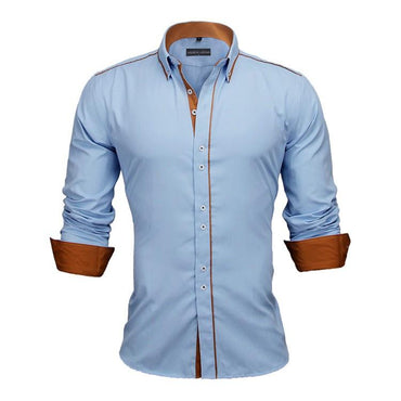 Men Fashion Slim Fit Solid Long Sleeve Cotton Dress Shirt